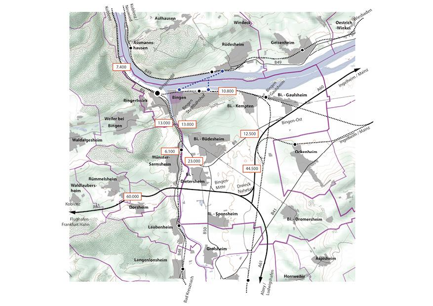 Bingen Integriertes Städtebauliches Entwicklungskonzept ISEK Lage Verkehr ÖPNV Karte