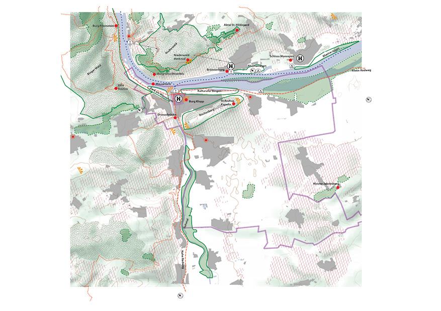 Bingen Integriertes Städtebauliches Entwicklungskonzept ISEK Landschaft Landschaftsräume Tourismus Karte