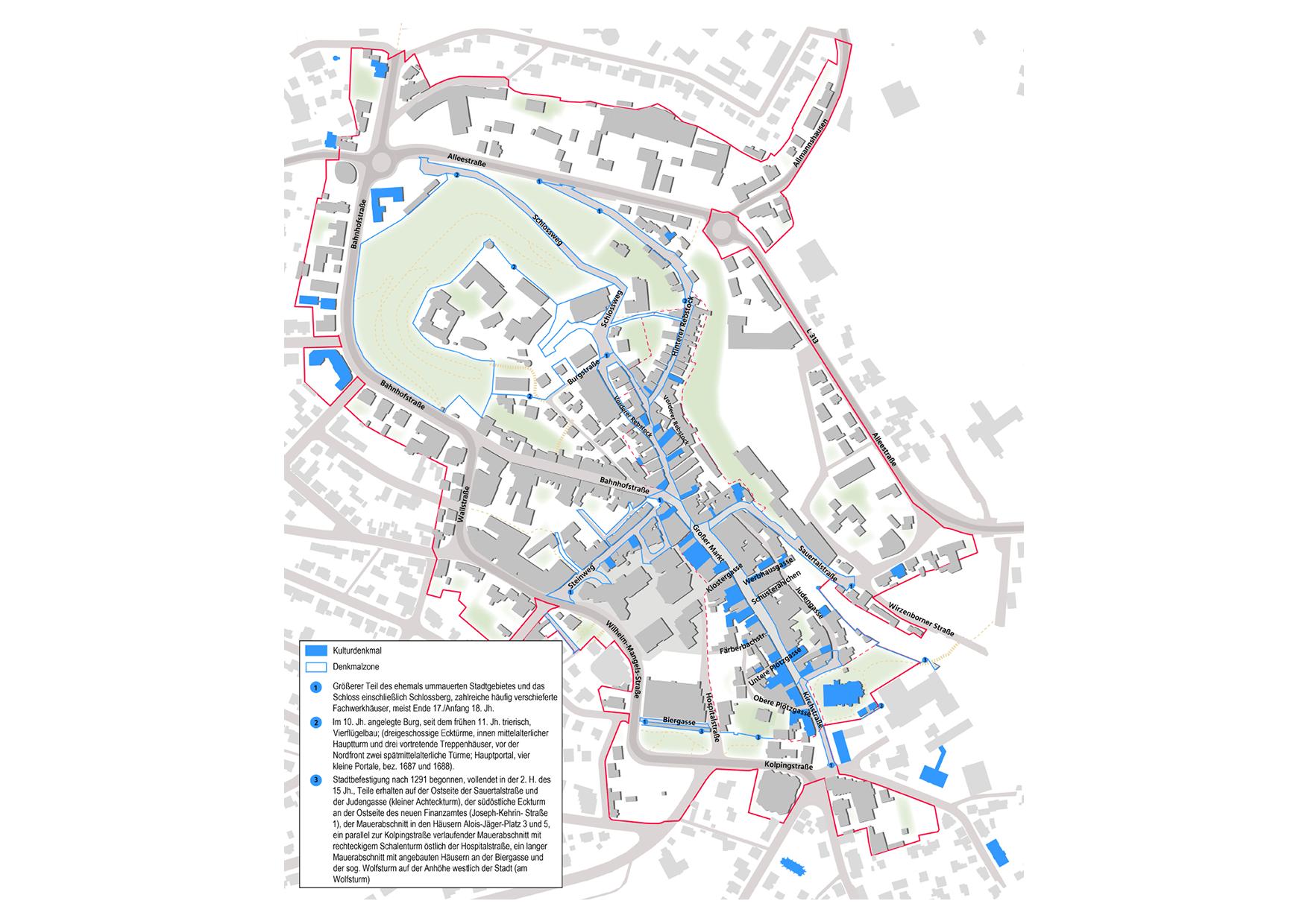 Montabaur Integriertes Städtebauliches Entwicklungskonzept ISEK Denkmal Baudenkmäler Denkmalzonen Kulturdenkmal Karte