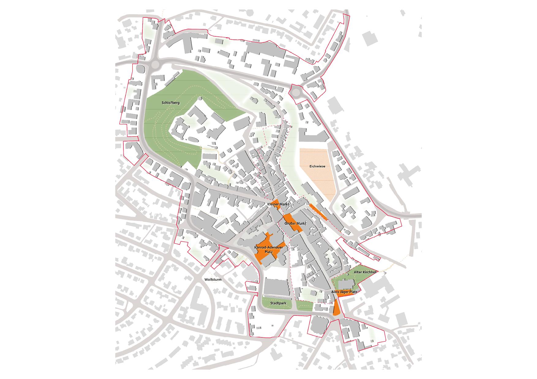 Montabaur Integriertes Städtebauliches Entwicklungskonzept ISEK Freiraum Plätze Karte