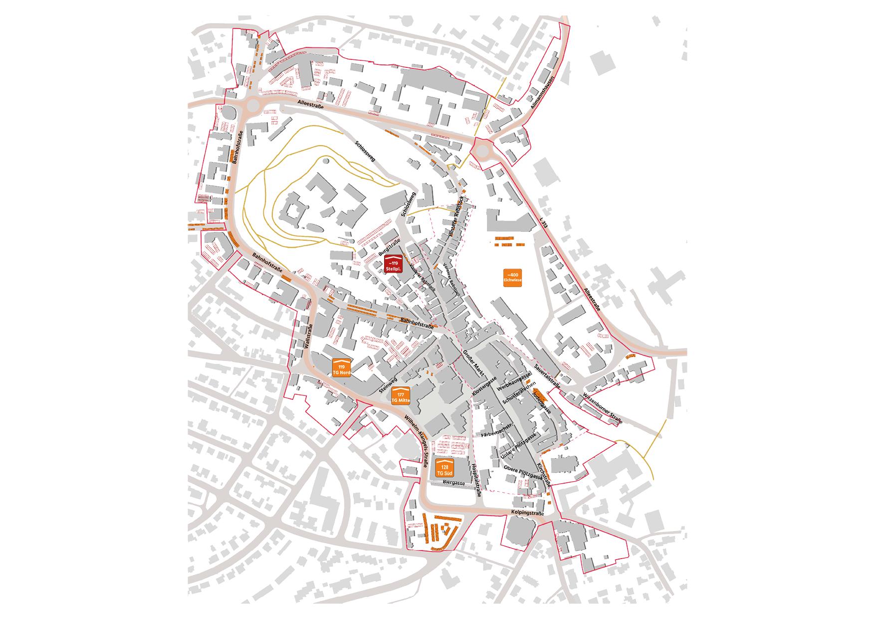 Montabaur Integriertes Städtebauliches Entwicklungskonzept ISEK Parken ruhender Verkehr Parkplätze Karte