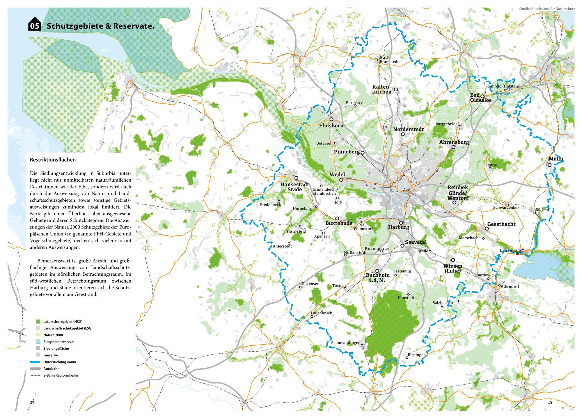 Suburbia Atlas Hamburg Schutzgebiete Reservate Restriktionsflächen Landschaftsschutzgebiet Biosphärenreservat Karte