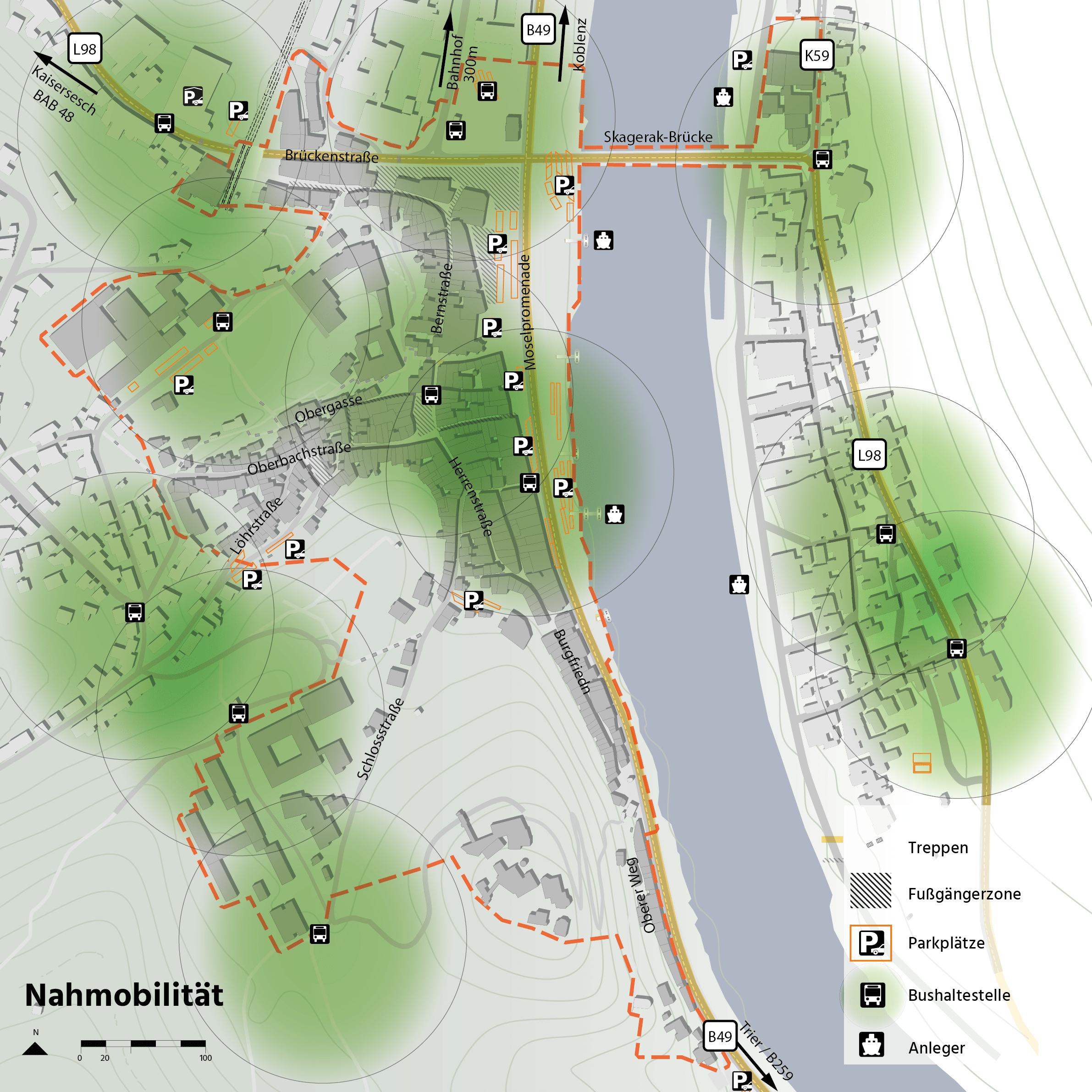 Cochem Integriertes Energetisches Quartierskonzept Mobilität ÖPNV Erreichbarkeit Topographie Karte