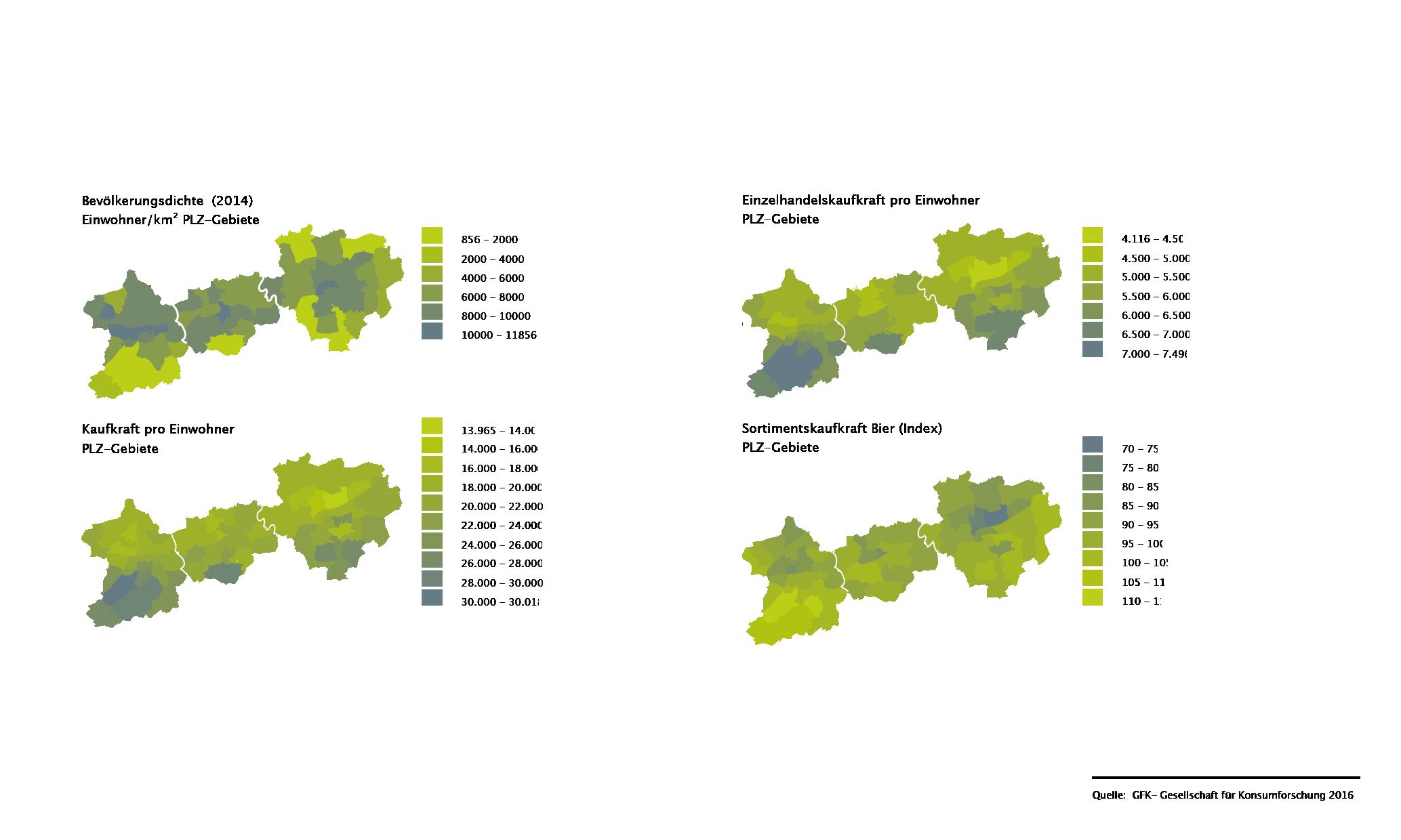 Bochum Standortfaktor Bermuda3eck Analyse Statistik Bevölkerungsdichte Kaufkraft Einzelhandel Sortiment Bier Karte