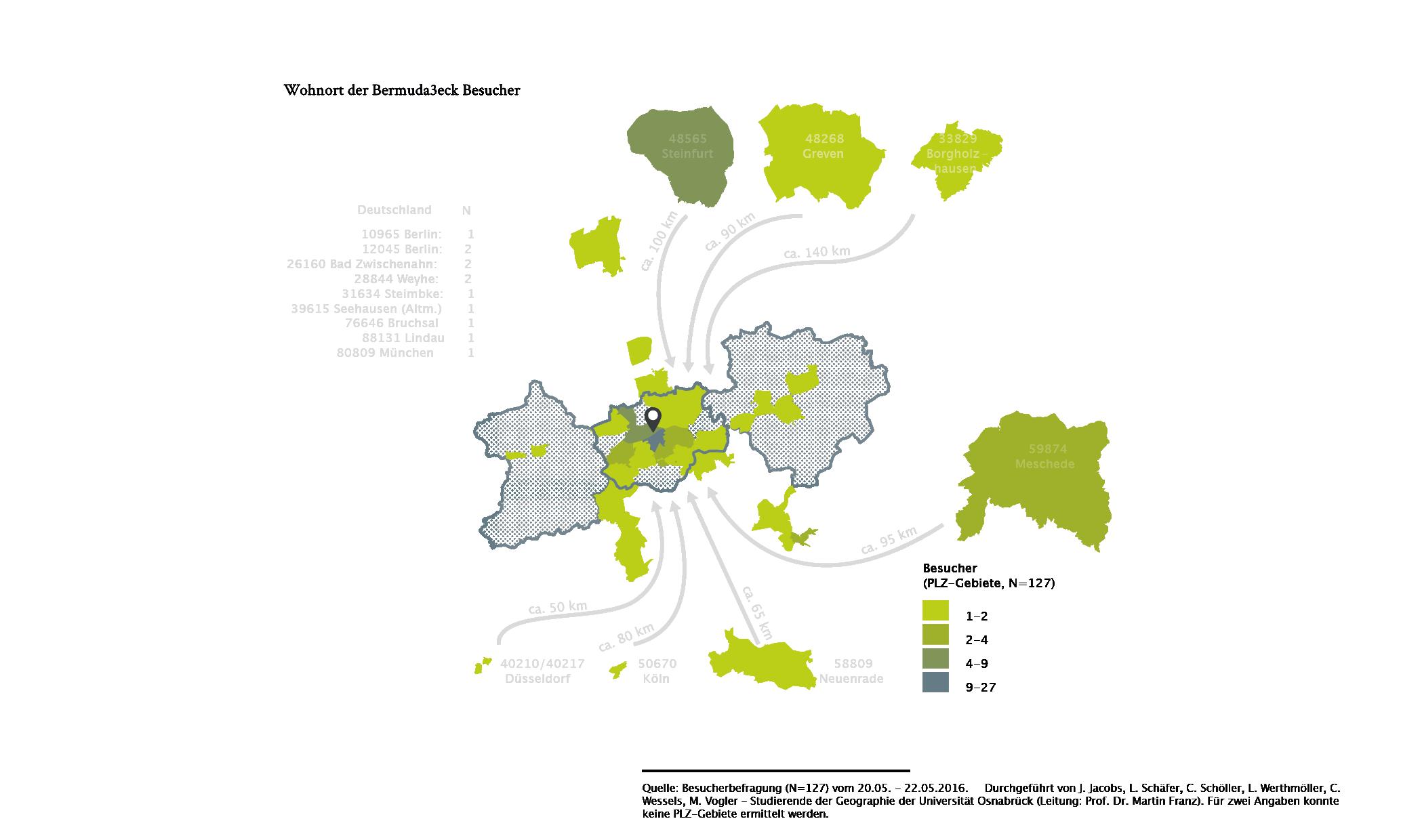 Bochum Standortfaktor Bermuda3eck Besucher Analyse Karte