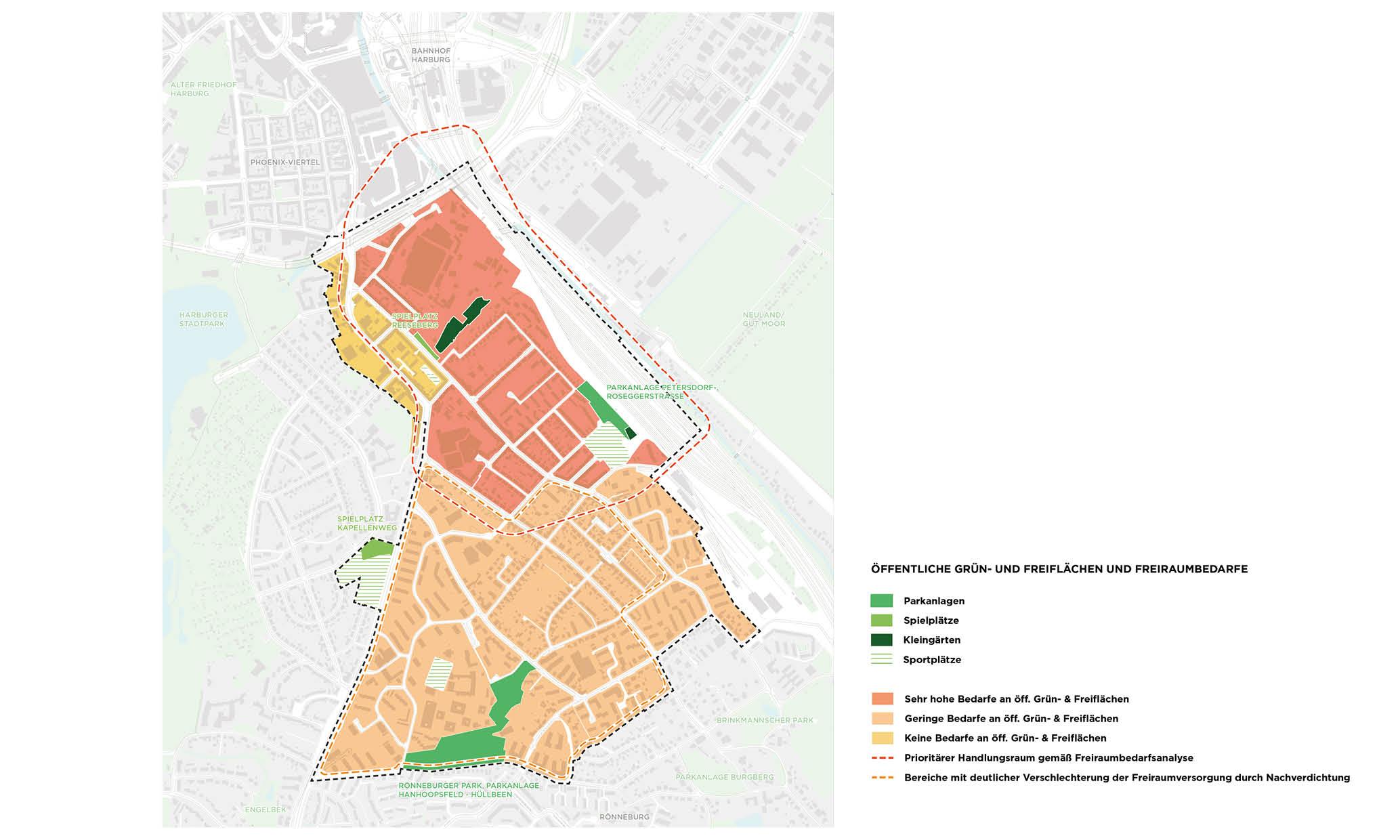 PPA Wilstorf Grünflächen Freiflächen Freiraum Freiraumbedarf Karte