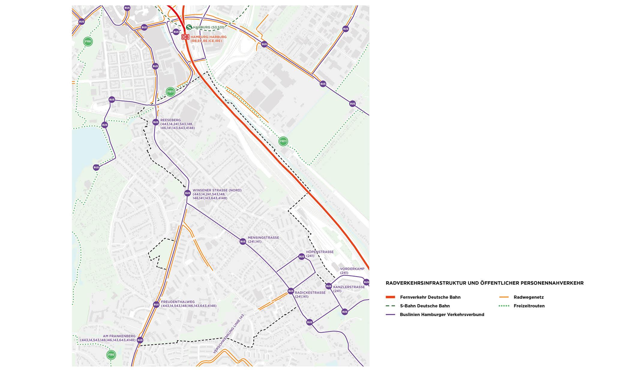 PPA Wilstorf ÖPNV Bus Bahn Radverkehr Haltestellen Routen Karte