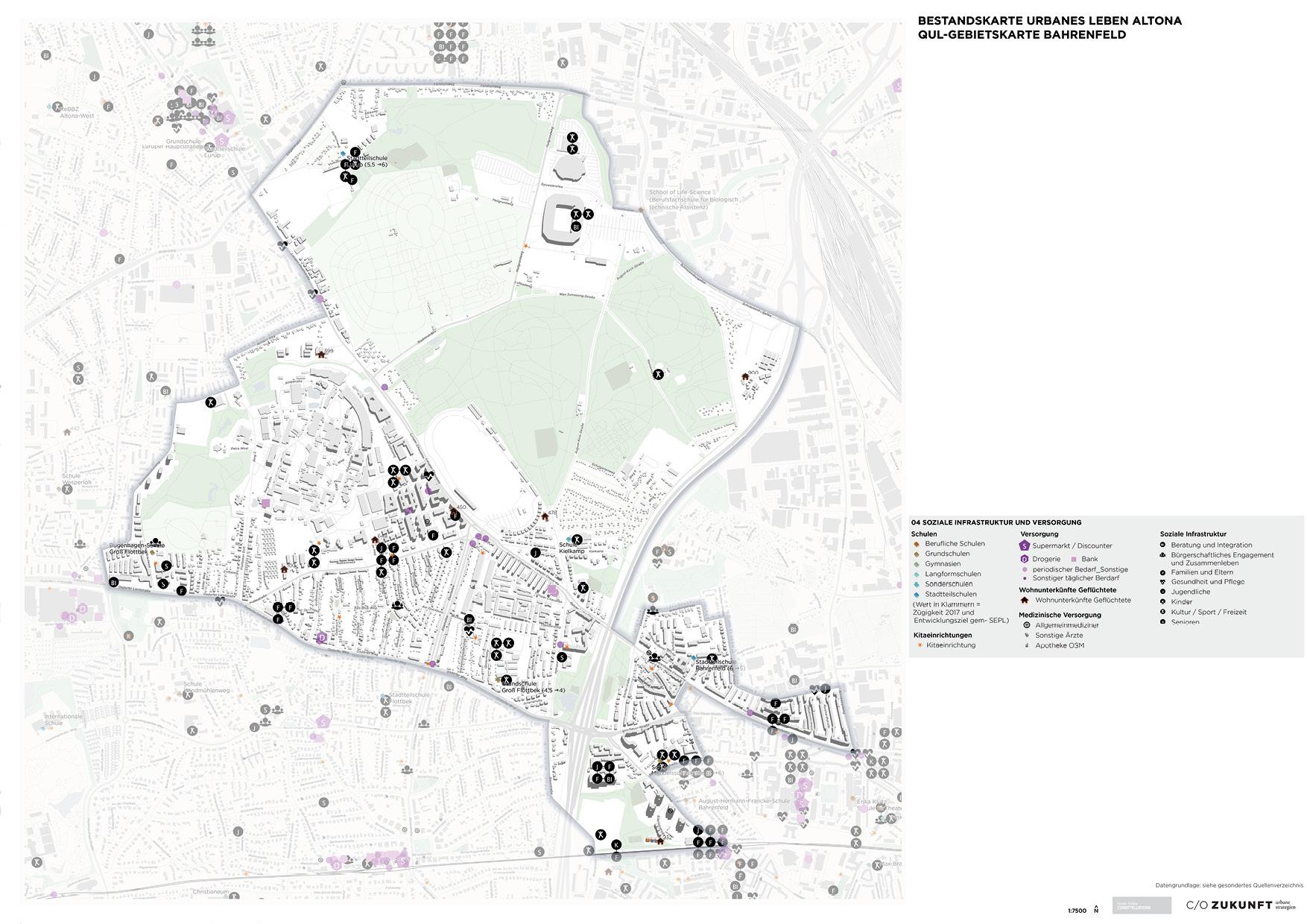Bestandskarte Soziale Infrastruktur und Versorgung QuL Gebeiet Bahrenfeld - Altona
